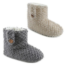 LADIES LUXURIOUS TUFTED PLUSH ANKLE BOOTEE SLIPPERS XMAS GIFT SIZE UK3-8 NEW