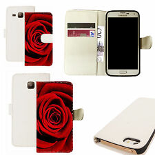 pu leather wallet case for majority Mobile phones - red rose white