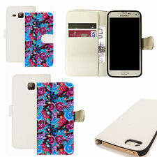 pu leather wallet case for majority Mobile phones - blue backyard floral white