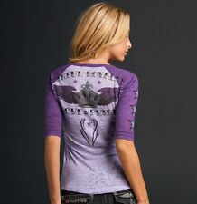 Sinful ROYAL CROWN Womens Raglan Burnout M NWT NEW Shirt Affliction Top Purple