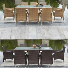 9PC Outdoor Rattan Furniture Patio Dinning Table Set Garden Lawn Cushioned O8Y5