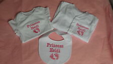 Gorgeous Personalised Embroidered Baby Baby Grow, Vest & Bib BOY or GIRLS