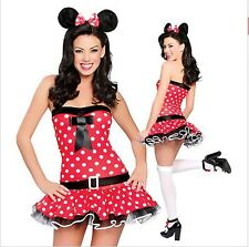 Womens Sexy Naughty Micky Mini Minnie Mouse Fancy Dress Costume Hen Night Party