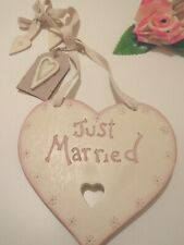 East of India Lge Shabby Vintage Chic Wooden Wedding Gift Keepsake Heart Mr Mrs