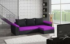 New Corner Sofa Bed DONNA With Sleeping Function 2 Storages Violet/Black Fabric