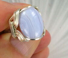BLUE LACE AGATE GEMSTONE RING STERLING SILVER SIZE 5 TO 15 WIRE WRAPPED