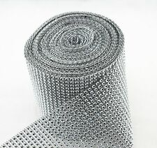Silver Diamond Trim Mesh Wrap Cake Sparkle Rhinestone Ribbon Wedding Decorations