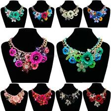 Vogue Ladies Necklace Crystal Choker Flower Chunky Collar Pendant Jewelry M16