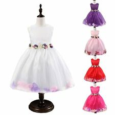 Girl Pretty Belted Petals Princess Tulle Dress Masquerade Birthday Wedding Party