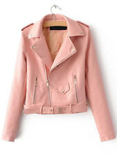 Pink Faux Leather Belted Moto Motorcycle Jacket Sz S M L XL