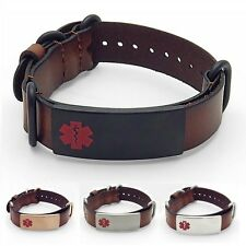 IDtagged Adjustable Brown Leather Medical Alert ID Bracelet Stainless Steel Tag