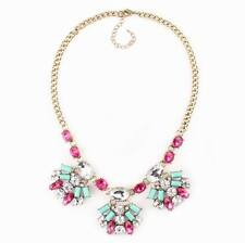 vintage gold chain colorful crystal pendant necklace statement jewelry for girls