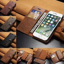For iPhone 7 Plus Genuine Leather Removable Wallet Magnetic Flip Card Case Cover