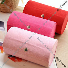 3 Tie Compartment Mini Travel Roll Rings earring Necklace Jewelry Storage Box
