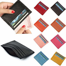 New Mens Womens Real Leather Small Id Credit Card Wallet Holder Slim Pocket Case