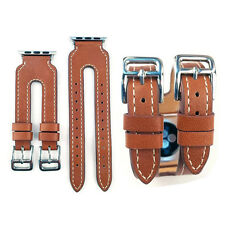 Genuine Leather Cuff Watch Band Strap Double Buckle for Apple Watch iWatch