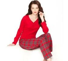 NEW Charter Club 2Pc Pajama Set Henley Top Brinkley Plaid Flannel Bottoms Red