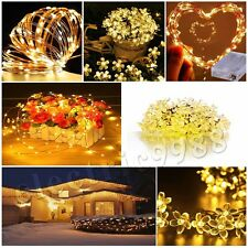 5M 10M Battery/Solar/Electric Flower Copper Silver Wire Fairy String Light Xmas