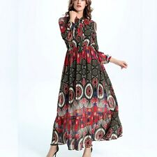 Womens Bowknot Tropical Boho Floral Dress Chiffon Maxi Summer Beach Long Dresses