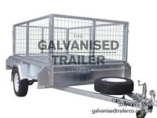8x5 Single Axle Box Trailer Galvanised Heavy Duty With 300mm Sides & 800mm Cage