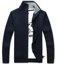 Stylish Mens Knitted Cardigan Sweater Leisure Stand collar Warm Thick Zip