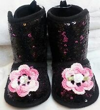 NEW BLACK PINK SEQUIN FAUX SUEDE BOOTS SLIPPER ROSE GIRLS BABY INFANT 3 6 MONTHS
