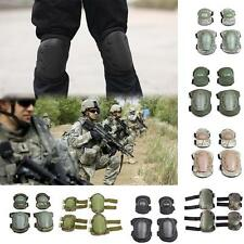 Unique 4Pcs Knee Elbow Protective Pad Gear Sports Tactical Airsoft Combat Skate