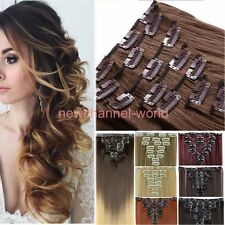 Women Natural Clip in Hair Extensions Ombre Full Head Long As Human Hair style
