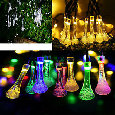 LEDs Solar Powered water-drop Fairy String Xmas Tree Party Decor Lights Outdoor