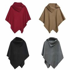 Women Warm Winter Fashion Women Batwing Cape Wool Poncho Jacket Lady Cloak Coat