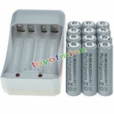 12x AA 3000mAh 1.2V Ni-MH GREY Color Rechargeable Battery Cell +Charger
