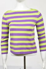J McLaughlin Womens Purple Striped Boatneck Sweater Sz S Cotton Shirt Top