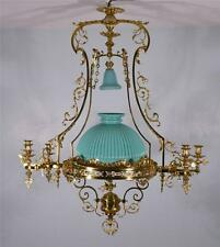 Large French Antique Bronze Gas Chandelier Gasolier Hanging Lamp