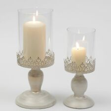 PILLAR CANDLE LANTERN GLASS DOME HOLDER WEDDING DECORATIVE