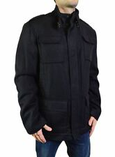 NEW ELIE TAHARI MEN'S WOOL JACKET PATCH POCKETS STAND COLLAR SOLID BLACK MSRP595