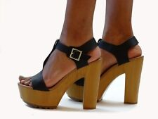 Black T-Strap Platform High Heel Open Toe Sandals Lug Sole Chunky Wooden Heels