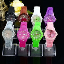 Classic Stylish Silicon Jelly Strap Unisex Women Lady Wrist Watch Colorful HR