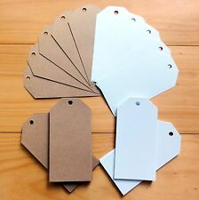 """50 x LARGE GIFT TAGS SMOOTH WHITE/KRAFT/SHIMMER CARD """"YOU CHOOSE"""" 60mmx120mm NEW"""