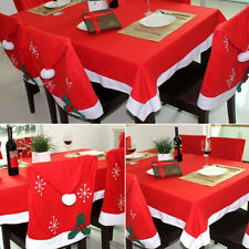 Santa Clause Red Hat Chair Back Covers Table Cloth Christmas Dinner Decoration