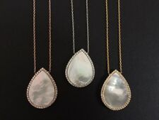 925 Sterling Silver / 18K Gold / Rose Mother Of Pearl MOP Teardrop Necklace