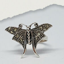 Statement Sterling Silver Marcasite Butterfly Ring Size 8