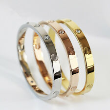 Hot Gold-plated Stainless Steel Women's Cuff Bangle Jewelry Crystal Bracelet