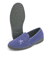 Mens Luxury Slippers by Sleepers Lion Motif Twin Gusset in Navy Blue UK6 - 12