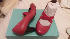 FOOTGLOVE MARKS AND SPENCER RED COURT SHOES HEELS LEATHER  SIZE 3.5 WIDER FIT