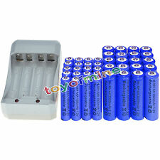 16x AA 3000mAh+16x AAA 1800mAh 1.2V NI-MH BLU Color Rechargeable Battery+Charger