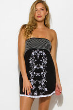 Womens Black Floral Embroidered Boho Beach Cover Up Tunic Mini Sun Dress Size M