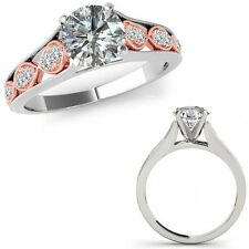 0.50 Carat Diamond Filigree Solitaire Halo Anniversary Ring Band 14K Rose Gold