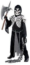 Boys Crypt Keeper Grim Reaper Halloween Fancy Dress Costume Skeleton Outfit