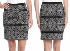 New Karen Kane Grey Black Knit Jacquard Pencil Skirt w. Tribal Print Sizes L XL