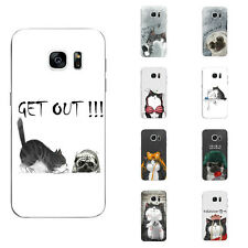 For Samsung Galaxy S6 S7 C7 Edge Case Soft TPU Back Phone Cover Cats Cartoon